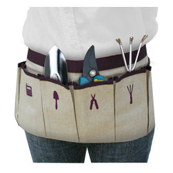 Great Useful Stuff - Gardening Apron - Inspired by a chef's apron and handyman's belt but designed exclusively for the stylish gardener, this pretty apron is the perfect horticulturalist's helper. With pockets designated for your clippers and spades (plus one for your cellphone, naturally), your tools will stay as neat and well tended as your garden.