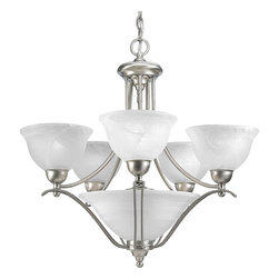 Progress Lighting - Progress Lighting P4069-09 5-Light Chandelier with Alabaster Glass Shades - Progress Lighting P4069-09 5-Light Chandelier with Alabaster Glass Shades