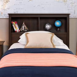 None - Everett Espresso Twin Bookcase Headboard - Transform your bed into storage space with this twin bookcase headboard. Ideal for smaller bedrooms,this headboard's two compartments offer more than enough room for your bedside necessities.