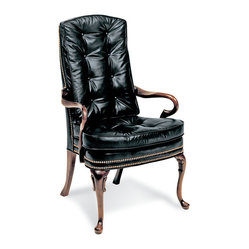 Like a Boss Collection - Fourth Quarter Chair - Your business is sure to be in the black with this elegant office addition. With a high button, tufted back of black leather, it features curvy hardwood arms and legs and nailhead trim. It would also be money in your den or library.