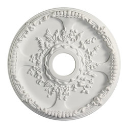 uDecor - MD-5279 Ceiling Medallion - Ceiling medallions and domes are manufactured with a dense architectural polyurethane compound (not Styrofoam) that allows it to be semi-flexible and 100% waterproof. This material is delivered pre-primed for paint. It is installed with architectural adhesive and/or finish nails. It can also be finished with caulk, spackle and your choice of paint, just like wood or MDF. A major advantage of polyurethane is that it will not expand, constrict or warp over time with changes in temperature or humidity. It's safe to install in rooms with the presence of moisture like bathrooms and kitchens. This product will not encourage the growth of mold or mildew, and it will never rot.