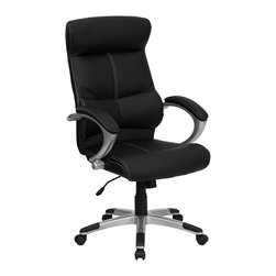 Flash Furniture - Black Leather Executive Swivel Chair w Lumbar - Headrest. High back design. Nylon loop arms. Thickly padded leather upholstered arm rests. Spring tilt tension control mechanism. Black leather upholstery with white stitching. Pneumatic seat height adjustment. Nylon base with silver finish. Dual wheel casters. Contemporary styling. Warranty: 2 years limited. Assembly required. Seat: 22 in. W x 19.5 in. D. Back: 21 in. W. Seat Height: 19.25 - 23.25 in.. Arm Height from Floor: 28.5 - 32.25 in.. Overall: 29 in. W x 26.5 in. D x 46.25 - 50 in. H (46 lbs.)