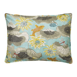 """Mystic Valley - Mystic Valley Traders Shangri-la - Queen Sham with Insert - The Shangri-la sham is fashioned from the Lagoon fabric on each side, and finished with self piping; sold with polyester microfiber insert;  queen 20""""x30"""""""