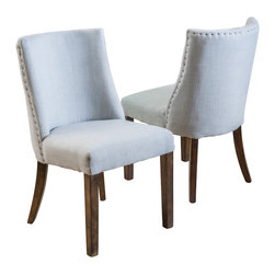 Great Deal Furniture - Rydel Fabric Dining Chairs, Set of 2, Blue Grey - The Rydel Dining Chairs are a perfect set to bring together any space in your home. They enhance almost any decor for your dining room or can even double as accent chairs for your living room, bedroom, or office. The Rydel blue grey fabric dining chairs are casual enough for the traditional to the more modern tastes and its neutral colored upholstery make these dining chairs compliment most existing furniture.
