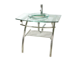 Renovators Supply - Glass Sinks Glass/Chrome Camber Console Glass Sink - Glass Sinks: the tempered glass Camber console sink package comes complete with faucet, pop-up drain p-trap. and functional stainless steel console.