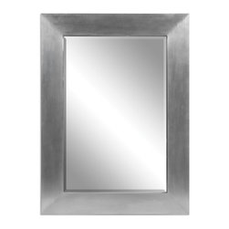 Uttermost - Martel Contemporary Mirror - Clean and sophisticated, this gleaming mirror will lift your whole decor to new heights of refinement. This sleek rectangular mirror has a wood base, which has been wrapped with soft sheen aluminum for a shining, modern beveled frame.