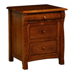 Chelsea Home Furniture - Chelsea Home Cambridge 3-Drawer Nightstand in Asbury Brown Stain - Complete your Cambridge bedroom set with the Cambridge Night Stand for all of your bedside items, shown with White Quarter Sawn Oak and Asbury Brown Stain. The night stand has curved detail along the fronts and sides for added dimension, with curved feet and Features: solid wood knobs. With dovetail drawers, full extension-Drawer slides and premium finish, this piece is a sensible and traditional investment for any home. Chelsea Home Furniture proudly offers handcrafted American made heirloom quality furniture, custom made for you. What makes heirloom quality furniture? It's knowing how to turn a house into a home. It's clean lines, ingenuity and impeccable construction derived from solid woods, not veneers or printed finishes over composites or wood products _ the best nature has to offer. It's creating memories. It's ensuring the furniture you buy today will still be the same 100 years from now! Every piece of furniture in our collection is built by expert furniture artisans with a standard of superiority that is unmatched by mass-produced composite materials imported from Asia or produced domestically. This rare standard is evident through our use of the finest materials available, such as locally grown hardwoods of many varieties, and pine, which make our products durable and long lasting. Many pieces are signed by the craftsman that produces them, as these artisans are proud of the work they do! These American made pieces are built with mastery, using mortise-and-tenon joints that have been used by woodworkers for thousands of years. In addition, our craftsmen use tongue-in-groove construction, and screws instead of nails during assembly and dovetailing _both painstaking techniques that are hard to come by in today's marketplace. And with a wide array of stains available, you can create an original piece of furniture that not only matches your living space, but your personality. So adorn your home with a piece of furniture that will be future history, an investment that will last a lifetime.