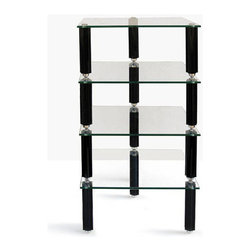 Lovan - Legacy HiFi Audio Rack 4-10in. Piano Black Star Posts with 4 Clear Glass Shelves - Legacy HiFi Audio Rack 4-10in. Piano Black Star Posts with 4 Clear Glass Shelves