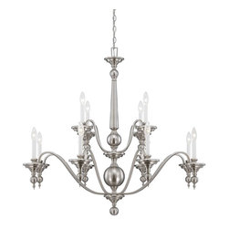 Savoy House Lighting - Savoy House Lighting 1-1728-12-SN Sutton Place Transitiona 12-Light Chandelier - Sutton Place has the look of traditional fixtures with a little modern flair. The Satin Nickel finish and classic design make this group flawless.