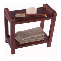 """DecoTeak - 24 in. Ergonomic Teak Spa Shower Bench w Shel - Made from plantation grown sustainably harvested solid teak that is naturally water, and mildew resistant..  LiftAide arms height for ease of sitting and standing. Included leg levelers for sloped surfaces. Storage shelf included. 30 day satisfaction guarantee. Galvanized stainless steel corrosion resistant hardware. Indoor outdoor deep penetrating stain for water, mold, mildew, fungus, and sunlight resistance.. Teak fits with modern or traditional bathroom decorUse in the shower, bathroom, or outdoors. Stain:  Deco Teak deep penetrating indoor outdoor golden brown. Assembly Required. Size:  18"""" Seat Height x  24"""" Length x 13"""" Width, Handle Height- 21"""". Product Weight: 20 lbs."""