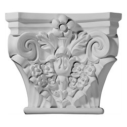 """Ekena Millwork - 11 5/8""""W x 7 3/8""""D x 10""""H Anthony Capital (Fits Pilasters up to 7""""W x 1""""D) - 11 5/8""""W x 7 3/8""""D x 10""""H Anthony Capital (Fits Pilasters up to 7""""W x 1""""D). Our appliques and onlays are the perfect accent pieces to cabinetry, furniture, fireplace mantels, ceilings, and more. Each pattern is carefully crafted after traditional and historical designs. Each polyurethane piece is easily installed, just like wood pieces, with simple glues and finish nails. Another benefit of polyurethane is it will not rot or crack, and is impervious to insect manifestations. It comes to you factory primed and ready for your paint, faux finish, gel stain, marbleizing and more."""