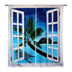"DiaNoche Designs - Window Curtains Unlined - Martina Bleichner Window To Paradise - Purchasing window curtains just got easier and better! Create a designer look to any of your living spaces with our decorative and unique ""Unlined Window Curtains."" Perfect for the living room, dining room or bedroom, these artistic curtains are an easy and inexpensive way to add color and style when decorating your home.  This is a tight woven poly material that filters outside light and creates a privacy barrier.  Each package includes two easy-to-hang, 3 inch diameter pole-pocket curtain panels.  The width listed is the total measurement of the two panels.  Curtain rod sold separately. Easy care, machine wash cold, tumbles dry low, iron low if needed.  Made in USA and Imported."