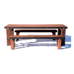 Walsworth Furnishings - Reclaimed Redwood Outdoor Dining Set - This Dining set is made of  reclaimed redwood from a railroad tunnel originating in Eureka California.