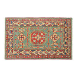 1800-Get-A-Rug - Geometric Design Teal Kazak Hand Knotted Rug Sh9361 - About Tribal & Geometric
