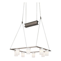 Minka - George Kovacs by Minka P8028-084 - Eight Light Square Counter Weight - George Kovacs P8028-084 Counter Weight Chandelier in Brushed Nickel finish with Cased Etched Opal Glass