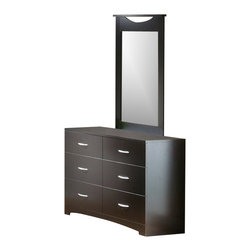 South Shore - South Shore Back Bay Double Dresser and Mirror Set in Dark Chocolate - South Shore - Dressers - 3159010PKG - South Shore Back Bay Double Dresser and Mirror Set in Dark Chocolate
