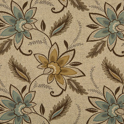 Beige Brown And Teal Floral Vines Indoor Outdoor Upholstery Fabric By The Yard - P401012 is great for residential and commercial applications, and can be used outdoors and indoors. This fabric will exceed at least 35,000 double rubs (15,000 is considered heavy duty), and is easy to clean and maintain. In addition, this product is stain, water, mildew, bacteria and fade resistant. For superior quality and performance, this fabric is woven and solution dyed.