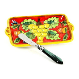 Artistica - Hand Made in Italy - Geribi: Red Fruit Butter Dish and Spreader Set (BFR30-GRB+ALD-9803G-B) - Geribi Collection: