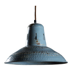 Goshen Hanging Lamp- vintage blue - Made from Hand formed steel