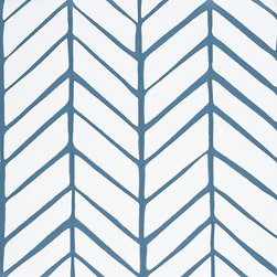 Serena & Lily - Feather Wallpaper Denim - Reminiscent of herringbone and chevron, this patterned wallpaper provides the perfect mix of geometry and organic imperfection. It would be great in a boy's bedroom, nursery or tween's room.