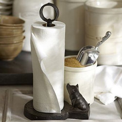 """Vintage Blacksmith Pig Paper Towel Holder - A helpful little pig transforms this traditional kitchen essential into a charming decorative piece. Finished in antique bronze, our sturdy paper towel holder features a wide base to fit large rolls and a ring-shaped top. 8.5"""" wide x 6.5"""" deep x 14.5"""" high Made of cast aluminum with an antique-bronze finish. Rubber base to prevent slippage. Catalog / Internet only."""