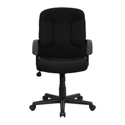 Flash Furniture - Flash Furniture Mid Back Chair with Nylon Arms in Black - Flash Furniture - Office Chairs - GOST6BKGG - Affordably priced fabric upholstered office chair provides a warm and inviting feel while performing work related offices or browsing the internet. The mid-back design makes it a perfect desk chair especially for smaller work spaces but still doesn't compromise on its appeal and features. [GO-ST-6-BK-GG]