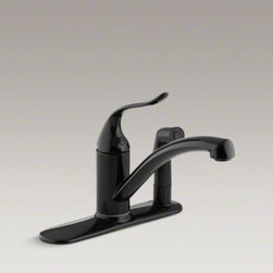 "KOHLER - KOHLER Coralais(R) Decorator three-hole kitchen sink faucet with 9-1/4"" spout, m - Offering quality and versatile style, this Coralais Decorator sink faucet brings sleek design continuity to the kitchen. The single-handle design is easy to use and features an escutcheon with an arching swing spout to accommodate pots and pans. A sidespray provides additional convenience for many tasks."