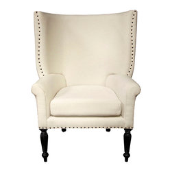 Franklin Chair - Hand Rubbed Black - Enjoy your seating with the flaring wingback Franklin Chair, an unconventional twist on a leisurely classic with a high back, a comfortable curve, and an authoritative look contrasted with the coziness of finely-sewn upholstery.  Rolled arms join the deeply curved back around the depth of the square seat cushion, while nail head trim above ribbed trumpet legs makes for a definitive outline in this transitional beauty of a living chair.