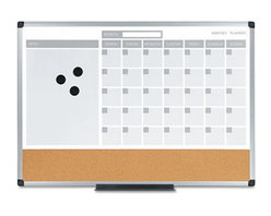 MasterVision 24 x 18 in. 3-in-1 Planner Dry Erase/Bulletin Board Multicolor - BV - Shop for Bulletin Boards from Hayneedle.com! Featuring a calendar dry erase board and cork bulletin board the MasterVision 24 x 18 in. 3-in-1 Planner Dry Erase/Bulletin Board is an ideal multi-purpose office accessory. It enables you to schedule and organize appointments keep reminders post notes pictures and write important messages. Constructed from high-quality cork material with an aluminum frame this board is long lasting. This board is an absolute must-have to enhance efficiency and competence at your work place.About United StationersDedicated to making life in the office more organized efficient and easier United Stationers offers a wide variety of storage and organizational solutions for any business setting. With premium products specifically designed with the modern office in mind we're certain you will find the solution you are looking for.From rolling file carts to stationary wall files every product in the United Stations line is designed with one simple goal: to improve office efficiency. In turn you will find increased productivity happier more organized employees and an office setting that simply runs better with the ultimate goal of increasing bottom line profits.