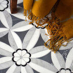Edie Stone Mosaic - Edie, a stone mosaic shown in Nero, Bardiglio, Thassos and Carrara, is part of the Silk Road Collection by Sara Baldwin for New Ravenna Mosaics.