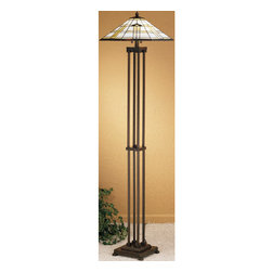 """Meyda Tiffany - 63""""H Arrowhead Mission Floor Lamp - Native American patterns are a commonly used theme in the Southwest Mission style. The Meyda Tiffany Arrowhead Mission shade has a triple arrowhead and border in Bark Brown granite textured glass. Intersecting bands of Sand Beige on Alabaster White complete this geometric stained glass shade which rest son a simple linear floor lamp base in a Mahogany Bronze finish."""