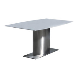 Chintaly - Contemporary Marble Dining Table with Solid S - Color: WhiteBoat shape white marble top. Solid stainless steel base. Minimal assembly required. Dimensions: 66 in. L x 40 in. W x 30 in. H