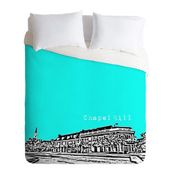 DENY Designs - Bird Ave Chapel Hill Aqua Duvet Cover - Turn your basic, boring down comforter into the super stylish focal point of your bedroom. Our Luxe Duvet is made from a heavy-weight luxurious woven polyester with a 50% cotton/50% polyester cream bottom. It also includes a hidden zipper with interior corner ties to secure your comforter. it's comfy, fade-resistant, and custom printed for each and every customer.