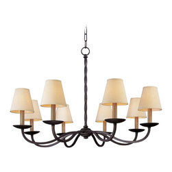 """Troy - Iron Alexander 8-Light 38"""" Wide Wrought Iron Chandelier - This Alexander wrought iron chandelier with shades is a refined design by Troy Lighting. The hand-worked frame has a twisted center column that is complemented by gently curving arms. Place in a grand room or entrance hall to complement a traditional decor. Hand-worked wrought iron construction. English iron finish. Hardback linen shades. Takes eight 40 watt candelabra base bulbs (not included). Includes 8 feet of chain. 38"""" wide. 24 1/2"""" high.  Hand-worked wrought iron construction.  English iron finish.  Hardback linen shades.  From the Troy Lighting collection.  Use this large chandelier in a foyer or dining room.  Takes eight 40 watt candelabra base bulbs (not included).  Includes 8 feet of chain.  38"""" wide.  24 1/2"""" high."""