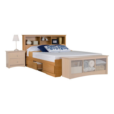 Prepac Furniture - Prepac Platform Storage Bed with Bookcase Headboard in Maple - With Platform Storage Bed with Bookcase Headboard in Maple - Prepac Furniture you can increase your storage space and get more space in your bedroom at the same time. 6 large and extra deep drawers in your bedroom can replace your night tables or any chest or dressers. This practically designed, functional, attractive storage bed get you pleasure for every time.    This price is for Double Size Bed with Headboard.  Queen Bed size is also available.