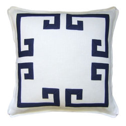 """Ryan Studio - Ryan Studio Aegean Fretwork 22"""" Pillow In Ivory/New Indigo - The Aegean Fretwork pillow is 22"""" x 22"""" with a self flange/corner pleat. It is accented with  an Aegean fretwork design. Feather-down fill and zipper closure"""