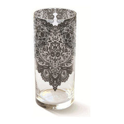 Fringe Studio - Studio Heather Lace Vase - A simple cylinder of glass dressed in fine black lace — what a tastefully romantic accent for your favorite setting. The weighted bottom of the vase means secure support for your bouquet.