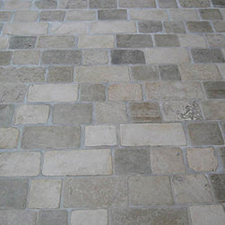 Limestone Tumbled Cobblestone Pavers - I love the texture of limestone, I think this type of pattern could be used inside or out - it would look great in a kitchen or entryway, classic European style.