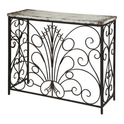 Powell - Powell Parcel White Console Table - The Parcel collection combines an antique, weathered look with a rustic industrial feel. Its distressed look is trendy, popular and full of unique character. The layered antique white finished console table features wonderful scroll work. This console table would be an unique addition to any space in your home. Some assembly required.