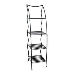 "Pangaea Home and Garden - Corner Plant Stand Four Layer - Black - Whether used indoors or out, this wrought iron tiered plant stand will hold up through any kind of weather due to its powder coated finish and hardy wrought iron.  Its organically shaped legs artfully hold up four geometrically shaped shelves. * This versatile handmade plant stand can be used inside or outside! . The attractive powder-coated finish protects the stand from rusting when left outdoors and is weather resistant year round. . No garden, pool or patio setting is complete without our Victorian Plant Stand. . Lightweight & not intended for heavy items.. The top shelf measures 9.5"" square, the middle 10.5"" square, and the two bottom shelves are 11.5"" square. This stand was designed specifically to fall within the size limits of UPS for affordable shipping.. 54""H x 14""W x 14""L"
