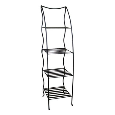 """Pangaea Home and Garden - Corner Plant Stand Four Layer - Black - Whether used indoors or out, this wrought iron tiered plant stand will hold up through any kind of weather due to its powder coated finish and hardy wrought iron.  Its organically shaped legs artfully hold up four geometrically shaped shelves. * This versatile handmade plant stand can be used inside or outside! . The attractive powder-coated finish protects the stand from rusting when left outdoors and is weather resistant year round. . No garden, pool or patio setting is complete without our Victorian Plant Stand. . Lightweight & not intended for heavy items.. The top shelf measures 9.5"""" square, the middle 10.5"""" square, and the two bottom shelves are 11.5"""" square. This stand was designed specifically to fall within the size limits of UPS for affordable shipping.. 54""""H x 14""""W x 14""""L"""