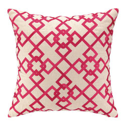 """Courtney Cachet - Chain Link Embroidered Decorative Pillow - The modern prints and vibrant colors of this pillow mirror the designer's well-known positive and energetic attitude for a vibe that can only be described as happy and high-spirited. Features: -Modern prints and vibrant colors. -Down-filled. Dimensions: -20"""" H x 20"""" W x 5"""" D, 6 lbs."""