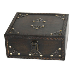 Small Pirate Style Treasure Chest - Decorative trunk that is great for storage and decoration Great Tressure Box Small wood trunk Old Fashioned hardware adds to antique look. Our warm and welcoming steamer trunk brings back days of old time. Remember how excited you are when you were a little kid to look into your grandma's old chest, our decorative trunks will bring back those memories and help you create some new ones too. Our hope chest boxes are all handcrafted and tailored to enhance the existing decor of any room in the home. Great to use for your very own treasure chest!