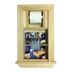 None - In the Wall Magazine Rack with Toilet Paper Holder - Keep your periodicals organized in style with this attractive magazine rack. Just cut the opening in the drywall and use construction adhesive on the back side of the frame and push it in the wall.