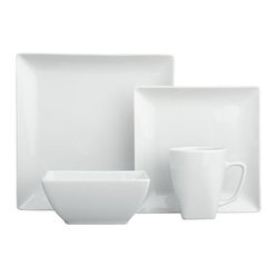 Court 16-Piece Set - Whenever I entertain, I always choose white dinnerware. It's uniform and can be accessorized with different napkins and centerpieces.