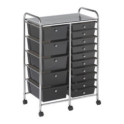 "ECR4Kids - 15 Drawer Mobile Organizer - This practical organizer can hold just about everything from art and crafts projects to office supplies or even hand tools! With its 15 drawers, its perfect for the home or office. Polypropylene drawers easily slide in and out on the chrome plated steel frame rails. This double-wide, multi-purpose organizer glides effortlessly under most tables or desks on 6-swivel casters (2-locking). Features: -Tubular, chrome-plated steel frame and top shelf. -Round, chrome-plated knob drawer pulls. -Translucent Polypropylene drawers. -Cart capacity is 50 lb. (23 kg.). -Minimal assembly required, tools & instructions included. Specifications -Assembled Unit Dimensions: 24.75""W x 15.4""D x 38""H. -Drawer Dimensions: 11.25W x 15.25D x 2.75H."