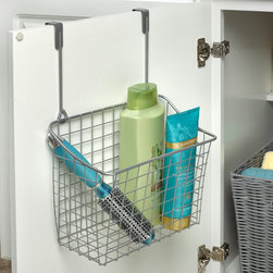 Bathroom Storage & Organization - Maximize precious cabinet space by storing your sponges, bottles, cleaning supplies and more with the innovative Large Over the Cabinet Door Grid Basket from Spectrum. The unique design requires no installation and conveniently fits over cabinet doors. Made of sturdy steel, it's perfect for the kitchen, bathroom, or laundry room.