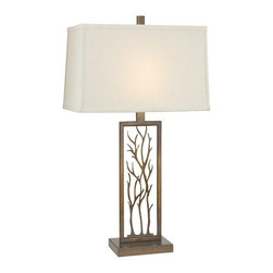 Design Classics Lighting - Bronze Table Lamp with Rectangle Shade - DCL 6916-1-604 SH7509 - If outdoor living is what that attracts you most, this table lamp will give you the chance of bringing that energetic life inside your home. With twig detailing at the center of the base, this lamp comes from Design Classics Lighting's Willow Collection. The Remington bronze finish has given it the character of a shiny luxe pedigree while the classic rectangular cream linen shade is likely to get an interior illuminated with one-of-a-kind appeal. This attractive table lamp is measured as 7-inch wide by 27-3/4-inch high. Takes (1) 100-watt incandescent three-way bulb(s). Bulb(s) sold separately. UL listed. Dry location rated.
