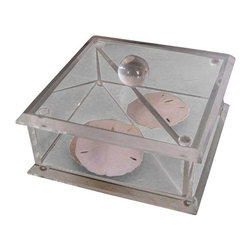 Used Vintage Lucite Trinket Box - Contain all your treasures where you can still enjoy their beauty in this clear vintage lucite box. This 1960s lucite piece has a divider inside. The sand dollars not included.