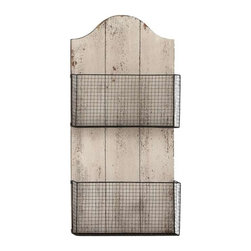 Benzara - Two Wire Mesh Wall Basket with White Finish MDF Plaque - Two wire mesh wall basket with white finish MDF plaque. Some assembly may be required.